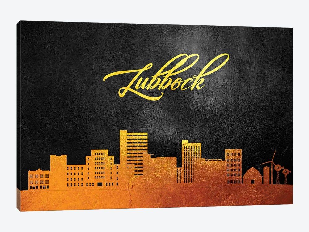 Lubbock Texas Gold Skyline by Adrian Baldovino 1-piece Art Print