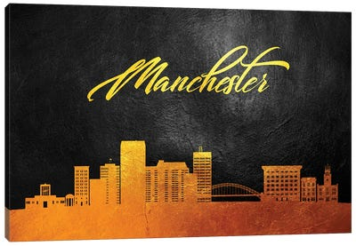 Manchester New Hampshire Gold Skline Canvas Art Print