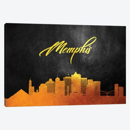 Memphis Tennessee Gold Skyline Canvas Print #ABV372} by Adrian Baldovino Canvas Print