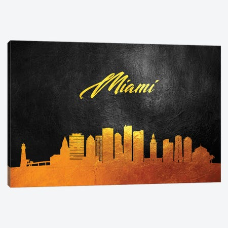 Miami Florida Gold Skyline 3-Piece Canvas #ABV373} by Adrian Baldovino Canvas Art Print