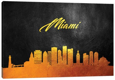 Miami Florida Gold Skyline Canvas Art Print