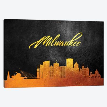 Milwaukee Wisconsin Gold Skyline Canvas Print #ABV374} by Adrian Baldovino Canvas Artwork