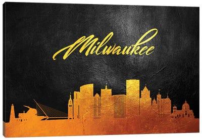 Milwaukee Wisconsin Gold Skyline Canvas Art Print