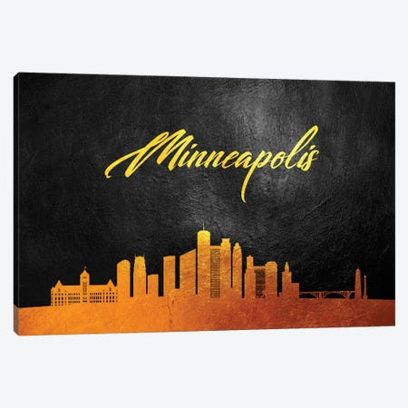Minneapolis Minnesota Gold Skyline Canvas Print #ABV375} by Adrian Baldovino Canvas Wall Art