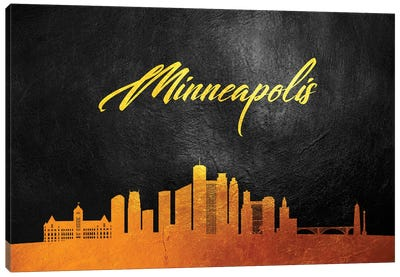 Minneapolis Minnesota Gold Skyline Canvas Art Print