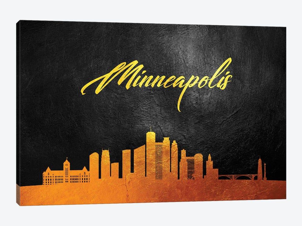 Minneapolis Minnesota Gold Skyline by Adrian Baldovino 1-piece Canvas Artwork