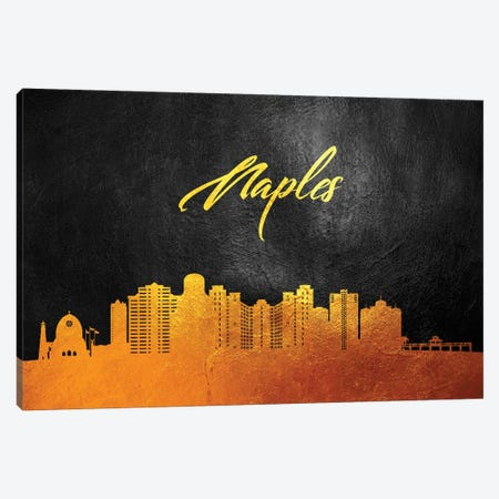 Naples Florida Gold Skyline Canvas Print #ABV376} by Adrian Baldovino Canvas Artwork