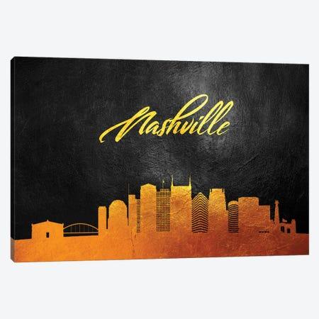 Nashville Tennessee Gold Skyline Canvas Print #ABV377} by Adrian Baldovino Canvas Wall Art