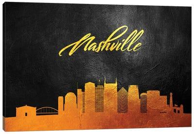 Nashville Tennessee Gold Skyline Canvas Art Print