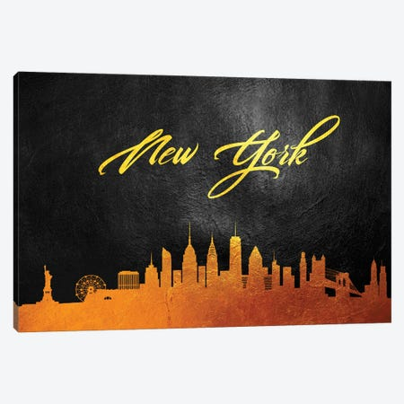 New York Gold Skyline Canvas Print #ABV378} by Adrian Baldovino Canvas Art Print