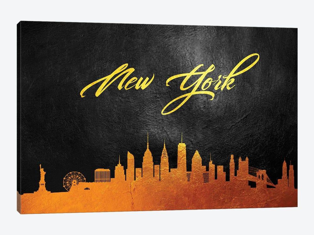 New York Gold Skyline by Adrian Baldovino 1-piece Canvas Art Print