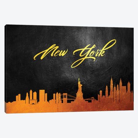 New York Gold Skyline II Canvas Print #ABV379} by Adrian Baldovino Canvas Art Print