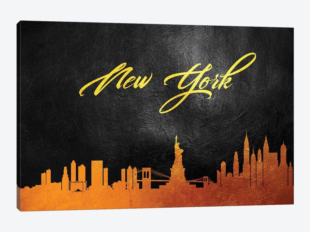 New York Gold Skyline II by Adrian Baldovino 1-piece Canvas Artwork
