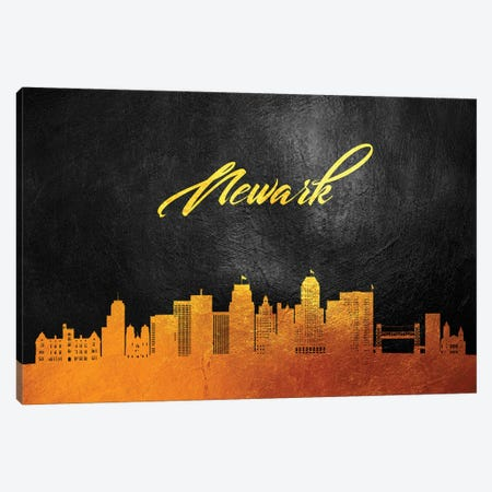 Newark New Jersey Gold Skyline Canvas Print #ABV380} by Adrian Baldovino Canvas Artwork