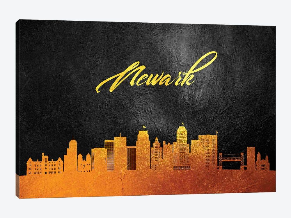 Newark New Jersey Gold Skyline by Adrian Baldovino 1-piece Canvas Art