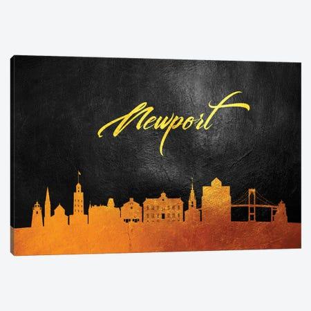 Newport Rhode Island Gold Skyline Canvas Print #ABV381} by Adrian Baldovino Canvas Artwork