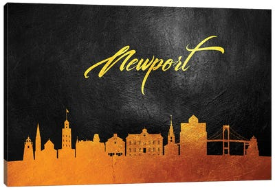 Newport Rhode Island Gold Skyline Canvas Art Print