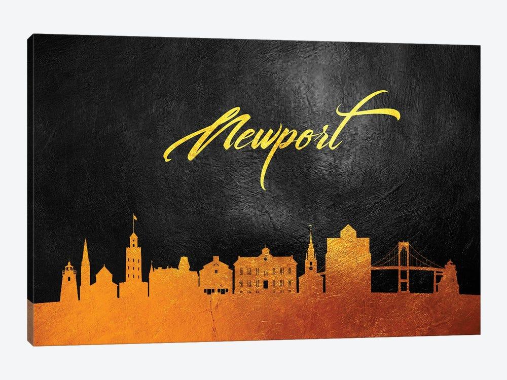 Newport Rhode Island Gold Skyline by Adrian Baldovino 1-piece Canvas Print