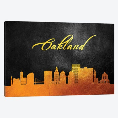 Oakland California Gold Skyline Canvas Print #ABV382} by Adrian Baldovino Canvas Art