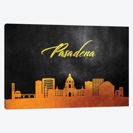 Pasadena California Gold Skyline Canvas Print #ABV384} by Adrian Baldovino Canvas Print