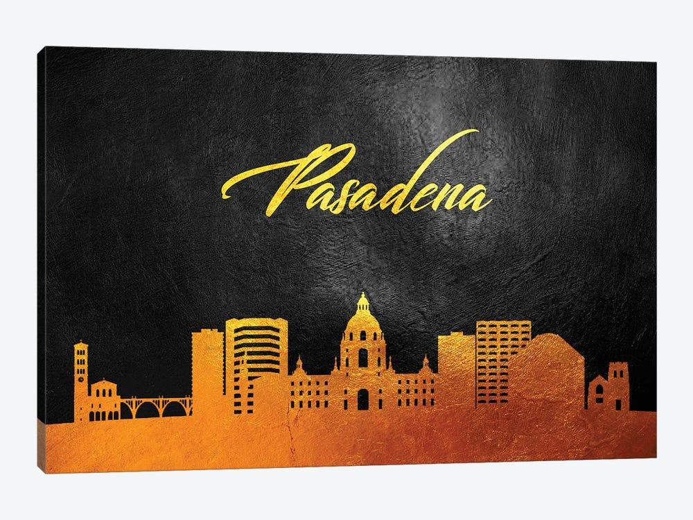 Pasadena California Gold Skyline by Adrian Baldovino 1-piece Canvas Wall Art