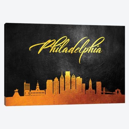 Philadelphia Pennsylvania Gold Skyline Canvas Print #ABV385} by Adrian Baldovino Art Print