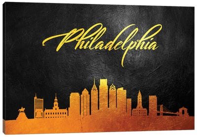 Philadelphia Pennsylvania Gold Skyline Canvas Art Print