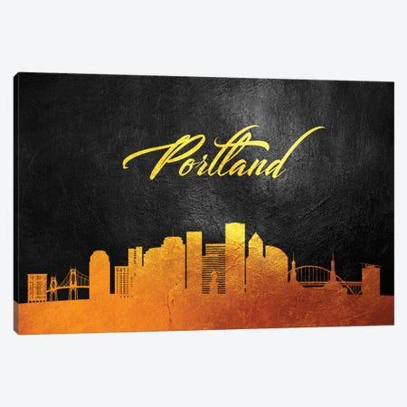 Portland Oregon Gold Skyline Canvas Print #ABV387} by Adrian Baldovino Art Print