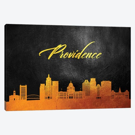Providence Rhode Island Gold Skyline Canvas Print #ABV388} by Adrian Baldovino Canvas Art