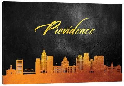 Providence Rhode Island Gold Skyline Canvas Art Print