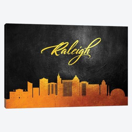 Raleigh North Carolina Gold Skyline Canvas Print #ABV389} by Adrian Baldovino Canvas Artwork