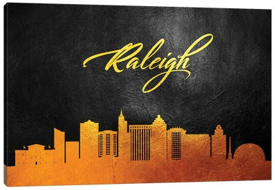 Raleigh North Carolina Gold Skyline Canvas Art Print