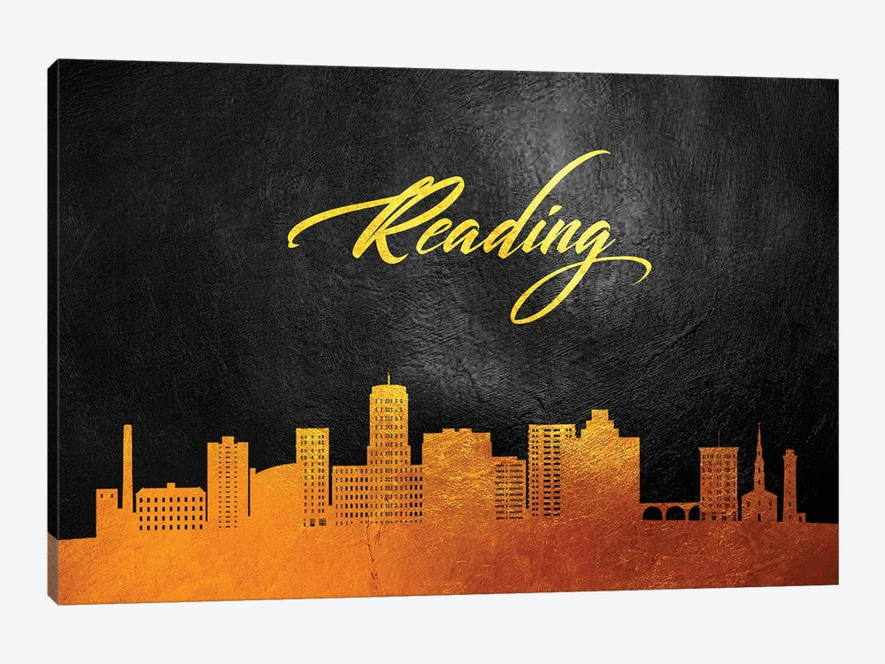 Reading Pennsylvania Gold Skyline by Adrian Baldovino 1-piece Canvas Art Print