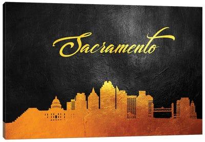 Sacramento California Gold Skyline Canvas Art Print