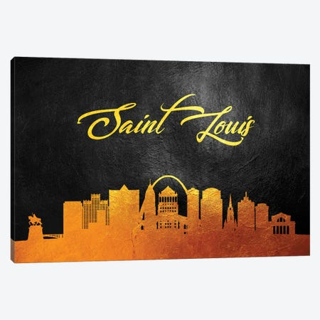 Saint Louis Missouri Gold Skyline Canvas Print #ABV392} by Adrian Baldovino Canvas Print