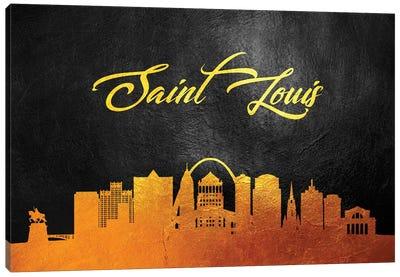 Saint Louis Missouri Gold Skyline Canvas Art Print