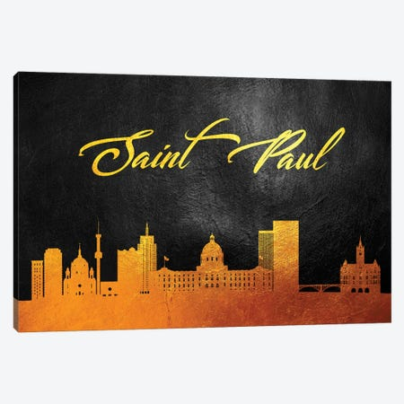 Saint Paul Minnesota Gold Skyline Canvas Print #ABV393} by Adrian Baldovino Canvas Print