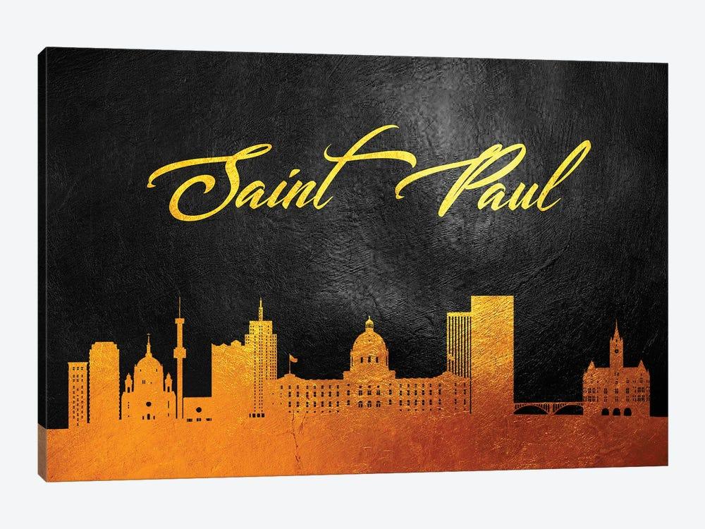 Saint Paul Minnesota Gold Skyline by Adrian Baldovino 1-piece Canvas Artwork