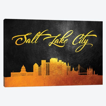 Salt Lake City Utah Gold Skyline Canvas Print #ABV394} by Adrian Baldovino Canvas Wall Art