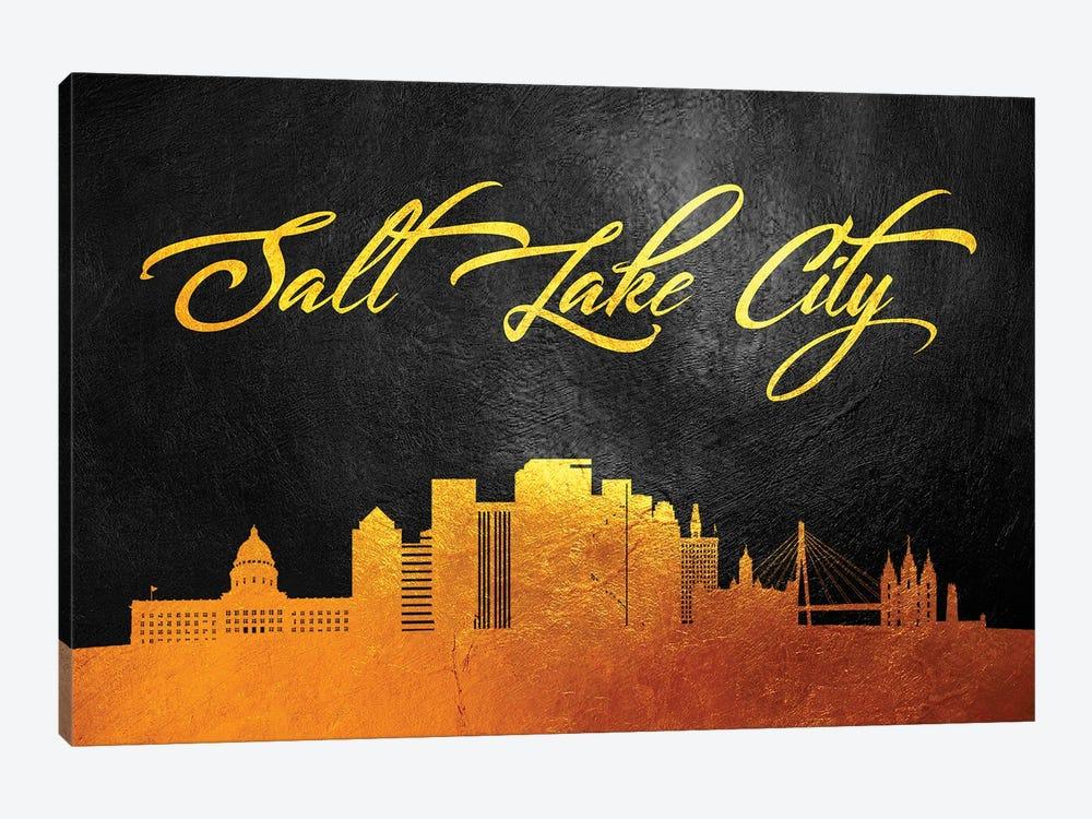 Salt Lake City Utah Gold Skyline by Adrian Baldovino 1-piece Art Print