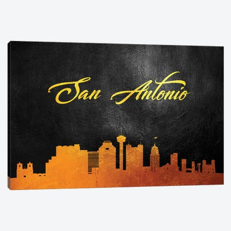 San Antonio Texas Gold Skyline Canvas Print #ABV395} by Adrian Baldovino Canvas Art