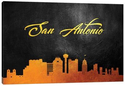 San Antonio Texas Gold Skyline Canvas Art Print