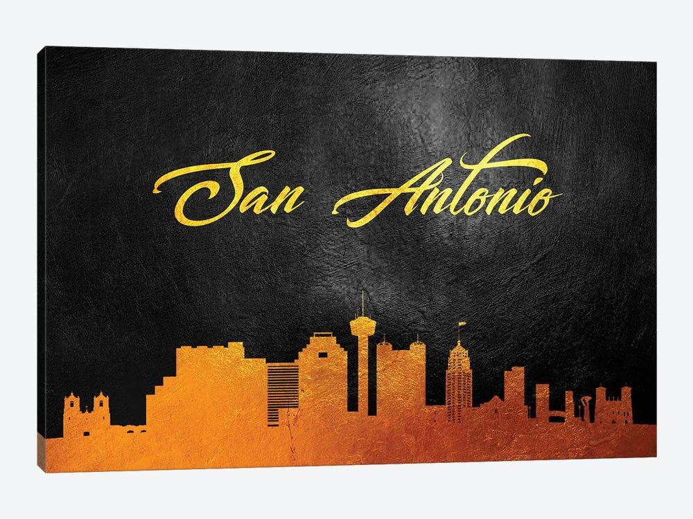 San Antonio Texas Gold Skyline by Adrian Baldovino 1-piece Canvas Art