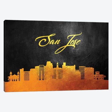 San Jose California Gold Skyline Canvas Print #ABV396} by Adrian Baldovino Canvas Art