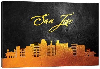 San Jose California Gold Skyline Canvas Art Print