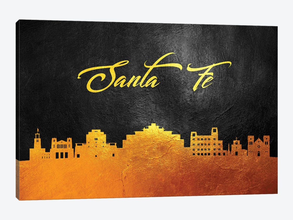 Santa Fe New Mexico Gold Skyline by Adrian Baldovino 1-piece Canvas Wall Art