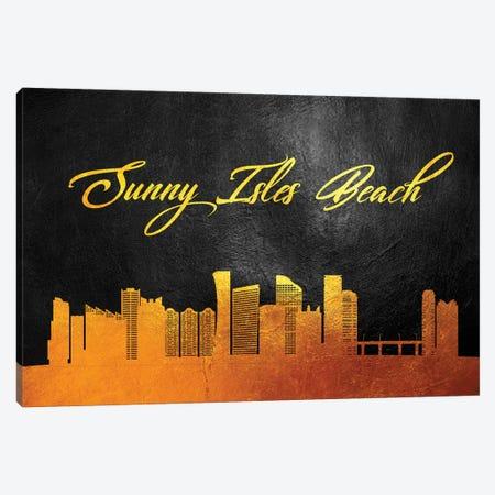 Sunny Isles Beach Florida Gold Skyline Canvas Print #ABV399} by Adrian Baldovino Canvas Art Print