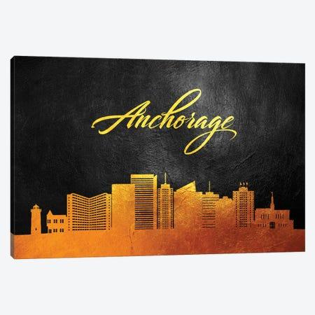 Anchorage Alaska Gold Skyline Canvas Print #ABV3} by Adrian Baldovino Canvas Print