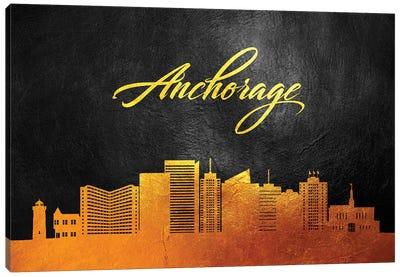 Anchorage Alaska Gold Skyline Canvas Art Print