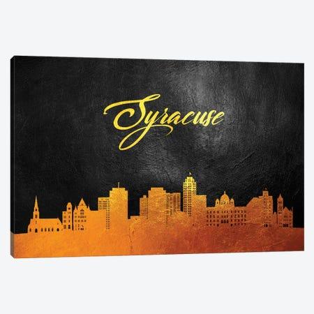 Syracuse New York Gold Skyline Canvas Print #ABV400} by Adrian Baldovino Canvas Art Print